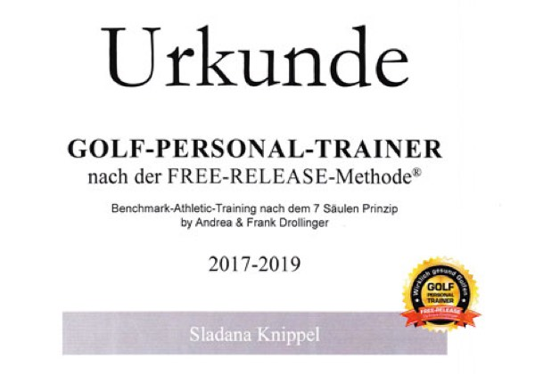 Urkunde Golf Personal Trainer Sladana Knippel